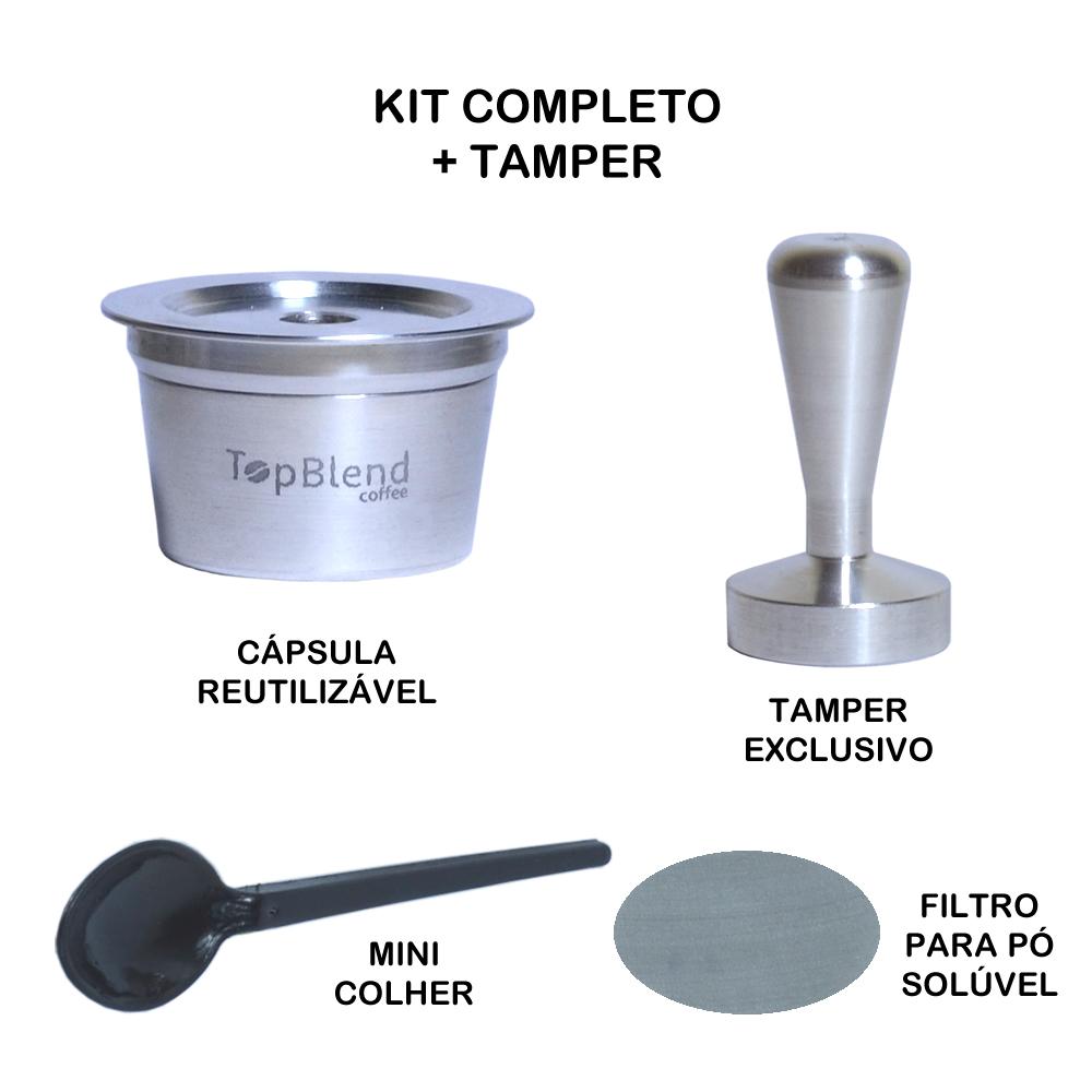 Kit extra cápsula reutilizável tres + tamper