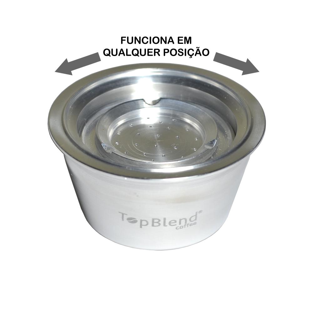 Cápsula Reutilizável TopBlend funciona em qualquer posição