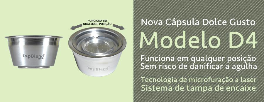 Cápsula Reutilizável TopBlend Dolce Gusto versão D4 com microfuração a laser e fechamento por encaixe