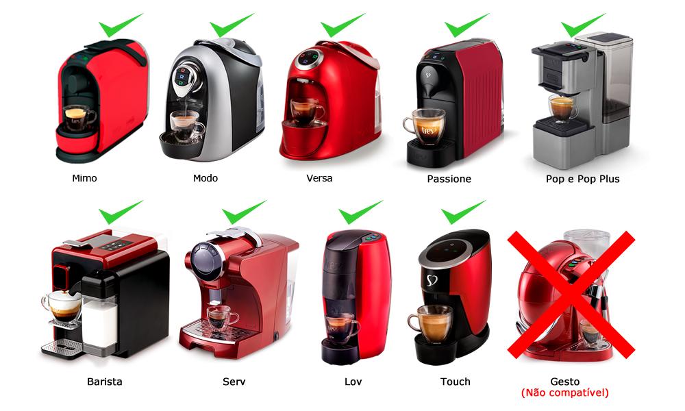 Compatível com cafeteiras tres Mimo, Modo, Versa, Pop, Pop Plus, Touch, Barista, Serv, Passione e Lov